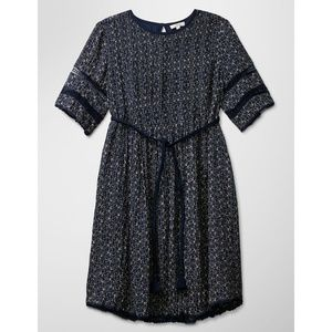 Aritzia | Wilfred Sonore Dress Navy Gold Printed